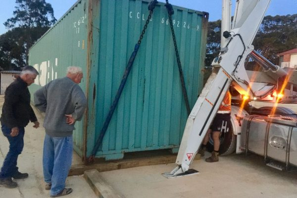 Setting down the container for Metal Shed